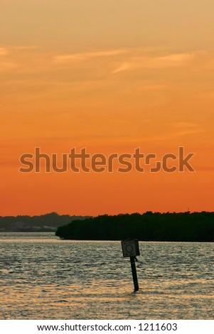 Sunrise on Boca Ciega Bay. Madeira Beach Florida - stock photo