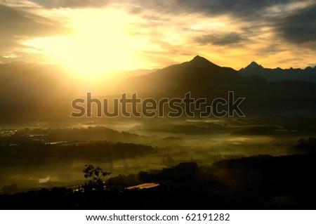 Sunrise on French alps - stock photo