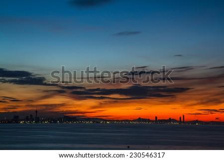 Sunrise on Koh Larn, Pattaya Chonburi Thailand - stock photo