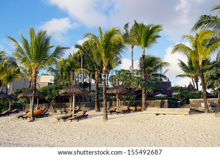 Sunrise on Mauritius beach, Belle Mare - stock photo