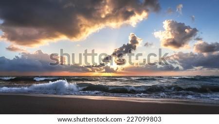 Sunrise on Miami Beach - stock photo