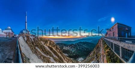 Sunrise on Pic du Midi de Bigorre, Hautes Pyrenees, France - stock photo