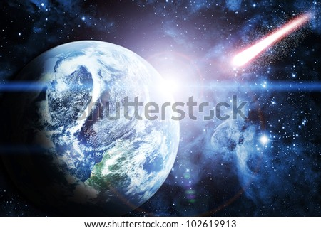sunrise on planet in beautiful space Elements of this image furnished by NASA - stock photo