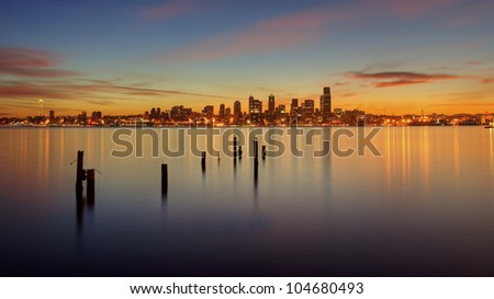 Sunrise on Puget Sound and Seattle, WA. - stock photo