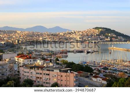 Sunrise on the bay in Kusadasi on the Agean Sea, Turkey - stock photo