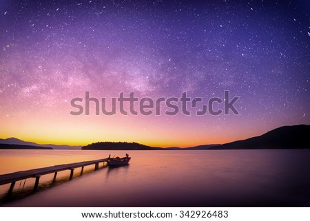 Sunrise on the bay of Nidri in Lefkas island Greece with startrail - stock photo