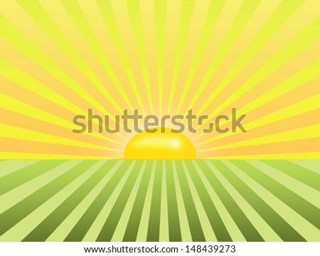 sunrise on the beautiful green field - stock photo
