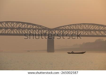 Sunrise on the Ganga river, Varanasi, India - stock photo
