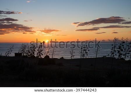 Sunrise on the idyllic coastline of Cabo de Gata - stock photo
