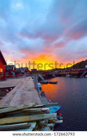 Sunrise on the Norwegian island Skrova - stock photo