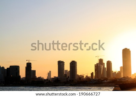 sunrise on the seafront of tel aviv by Jagga - stock photo