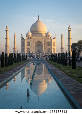 Sunrise on the Taj Mahal, southern view, Agra, India. - stock photo