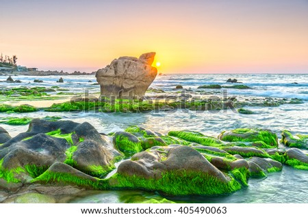 Sunrise over ancient fossil reef giant stone beautiful when he releases the sun shining pearl sky orange, green moss beneath the sparkling beach all day to welcome a beautiful new Vietnam coast - stock photo