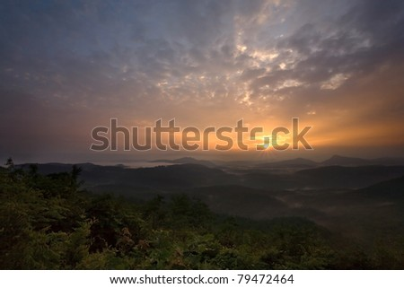 Sunrise over Appalachian Mountains, near Highlands, North Carolina - stock photo