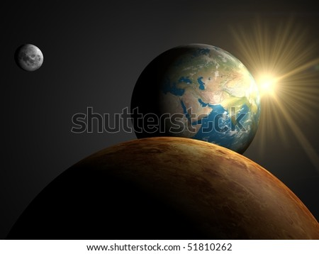 Sunrise over Asia, look from Venus - stock photo