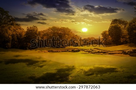 Sunrise over beautiful golf course on mayan riviera in Mexico - stock photo