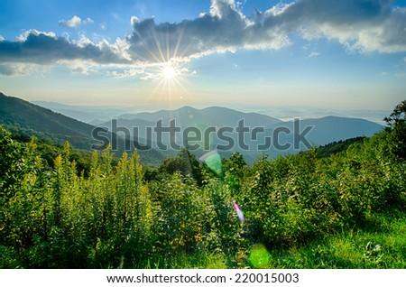 Sunrise over Blue Ridge Mountains Scenic Overlook  - stock photo
