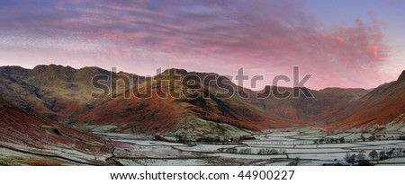 Sunrise over Bowfell and Great Langdale - stock photo