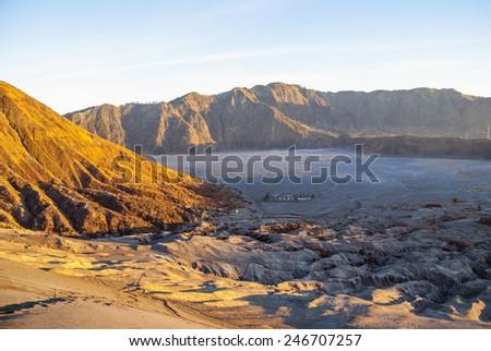 Sunrise over Bromo volcano and plateau, East Java, Indonesia - stock photo