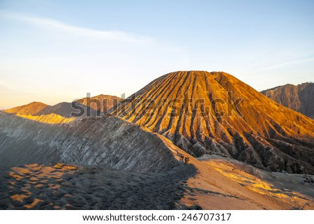 Sunrise over Bromo volcano and plateau, East Java, Indonesia - stock photo