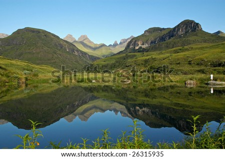 Sunrise over Cathedral Peak,Drakensberg Mountains, South Africa - stock photo