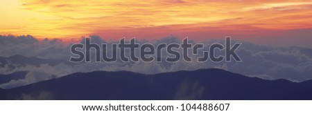 Sunrise over Clingman's Dome, Great Smoky Mountain National Park, Tennessee - stock photo