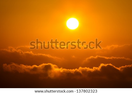 Sunrise over cloud - stock photo
