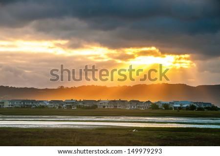 Sunrise over Knysna Lagoon - stock photo