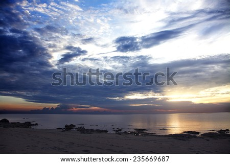 Sunrise over Lake Malawi, Chintheche, Malawi, Africa - stock photo