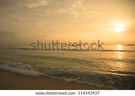 Sunrise over Mombasa beach Kenya Africa - stock photo