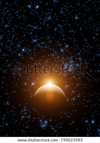 Sunrise over Moon. Elements of this image furnished by NASA. - stock photo