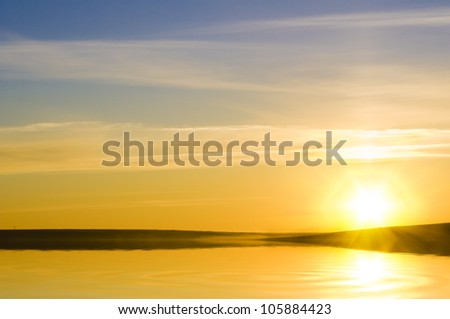 sunrise over ocean. Nature composition. - stock photo