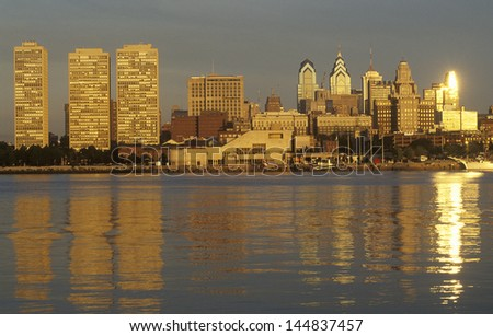 Sunrise over Philadelphia from the Delaware River, PA - stock photo