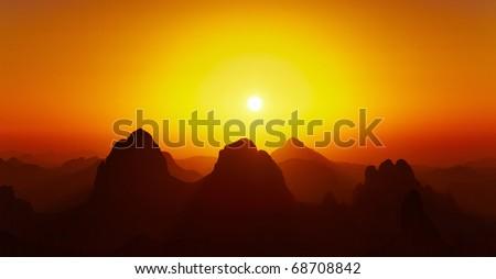 Sunrise over Sahara Desert, Hoggar mountains, Algeria - stock photo