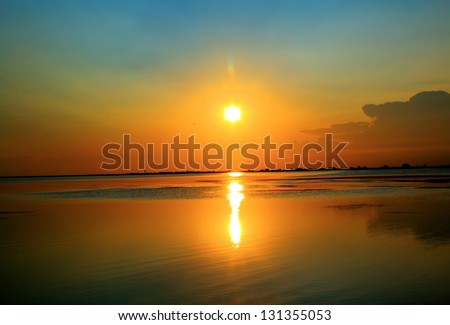 sunrise over sea - stock photo