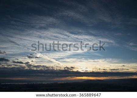 Sunrise over the Alpine ridge, germany - stock photo