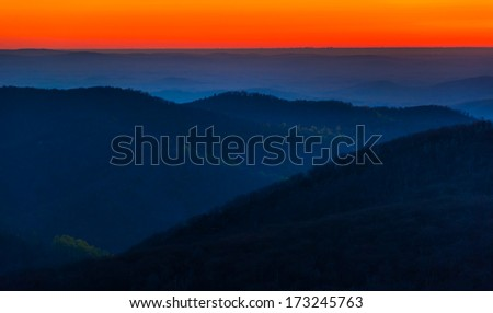 Sunrise over the Appalachian Mountains, seen from Skyline Drive in Shenandoah National Park, Virginia. - stock photo