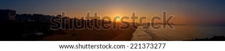 sunrise over the atlantic ocean - stock photo