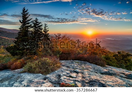 Sunrise over the Blue Ridge Mountains along the Blue Ridge Parkway in NC - stock photo
