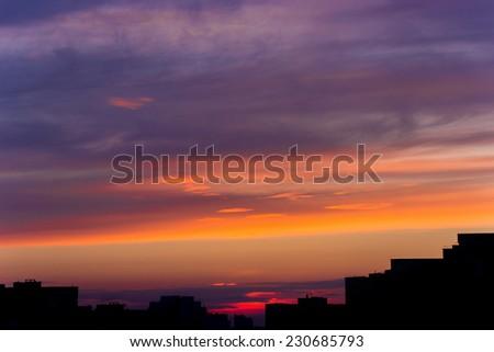 sunrise over the city - stock photo
