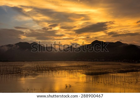 Sunrise over the coastline of Xiapu County, China - stock photo