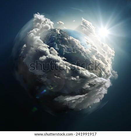 sunrise over the earth - stock photo