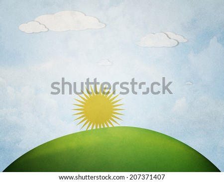 sunrise over the hill - stock photo