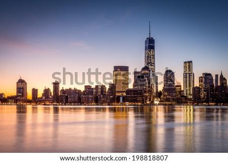 Sunrise over the Lower Manhattan - stock photo