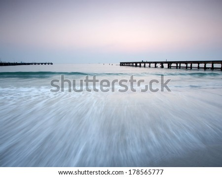 Sunrise over the sea at Huahin, Thailand - stock photo