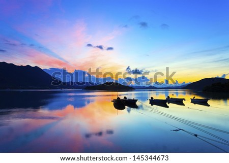 Sunrise over the sea in Hong Kong - stock photo