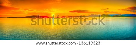 Sunrise over the sea. Panorama - stock photo