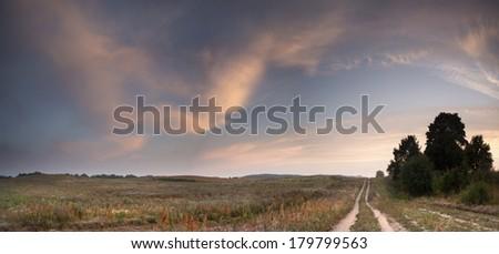 Sunrise panoramic in north Poland./ Sunrise panoramic - stock photo