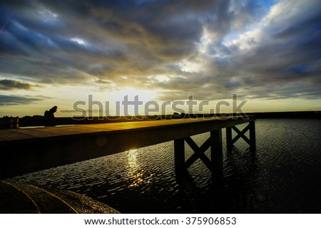 Sunrise Pier - stock photo