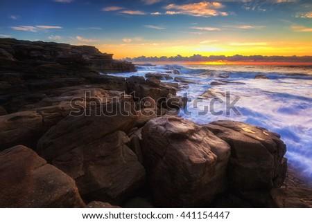 Sunrise sea, seascape in Australia - stock photo